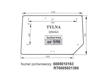 SZYBA TYLNA RENAULT CERES JOHN DEERE 6005010163 RT6005021388