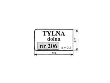 SZYBA ZETOR 5011,5211 TYLNA DOLNA NR 206