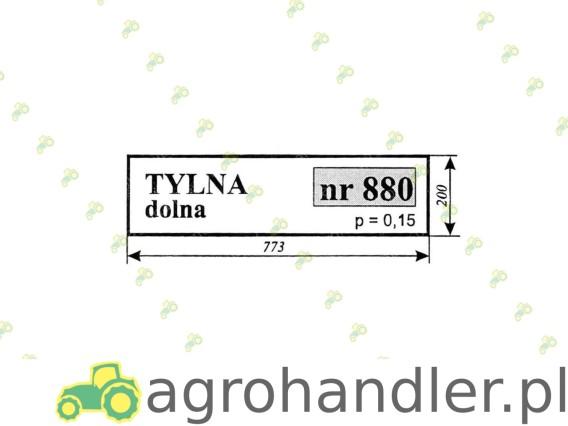 SZYBA MASSEY FERGUSON TYLNA DOLNA. 880