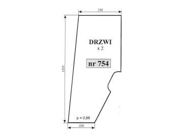 SZYBA DRZWI PRAWE/LEWE HURLIMANN 754 0.9234.212.020 09234212020