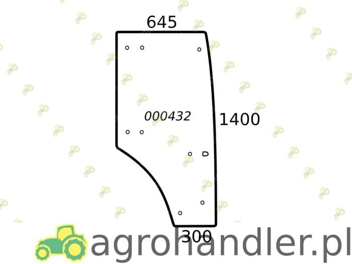 SZYBA DRZWI PRAWE FARMTRAC 80 675 675DT 000432