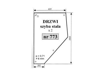 SZYBA MASSEY FERGUSON DRZWI STAŁA 773