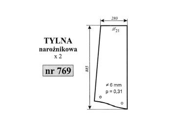 SZYBA TYLNA PRAWA/LEWA STEYR NAROŻNIKOWA 769 3389393M2